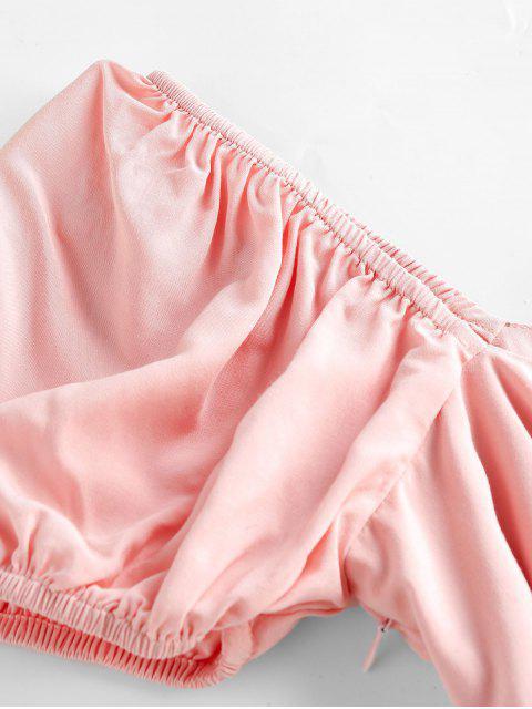 fancy ZAFUL Knot Slit Milkmaid Dress - LIGHT PINK XL Mobile