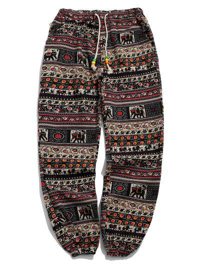 Ethnic Tribal Ditsy Graphic Print Casual Jogger Pants - Multi-c L