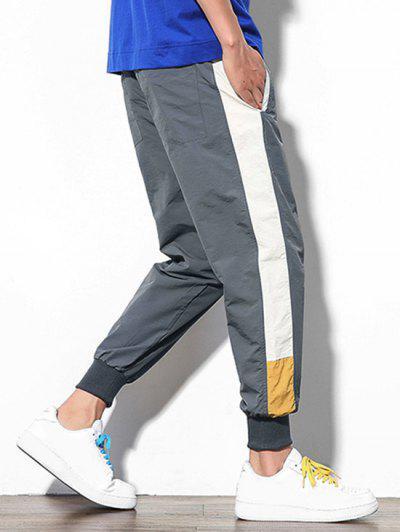 Color Block Splicing Applique Casual Jogger Pants, Dark gray