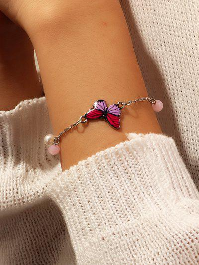 Chain Butterfly Shape Pendant Bracelet - Rose Red