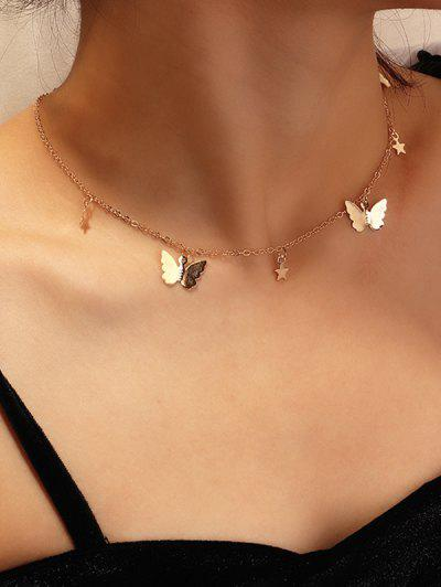 Metallic Star Butterfly Choker Necklace - Gold