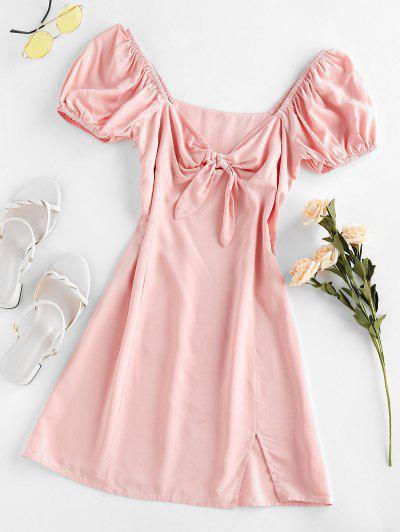 ZAFUL Knot Slit Milkmaid Dress - Light Pink S