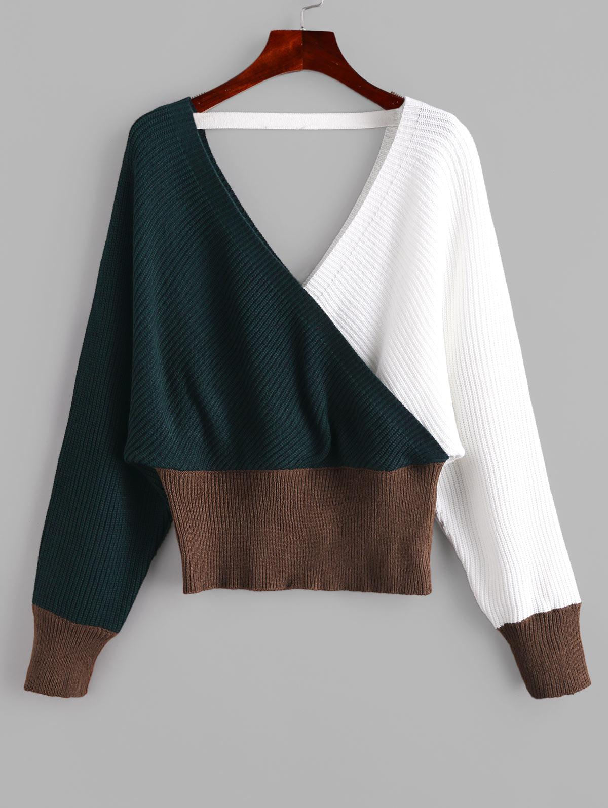 ZAFUL V Neck Colorblock Cross Front Jumper Sweater