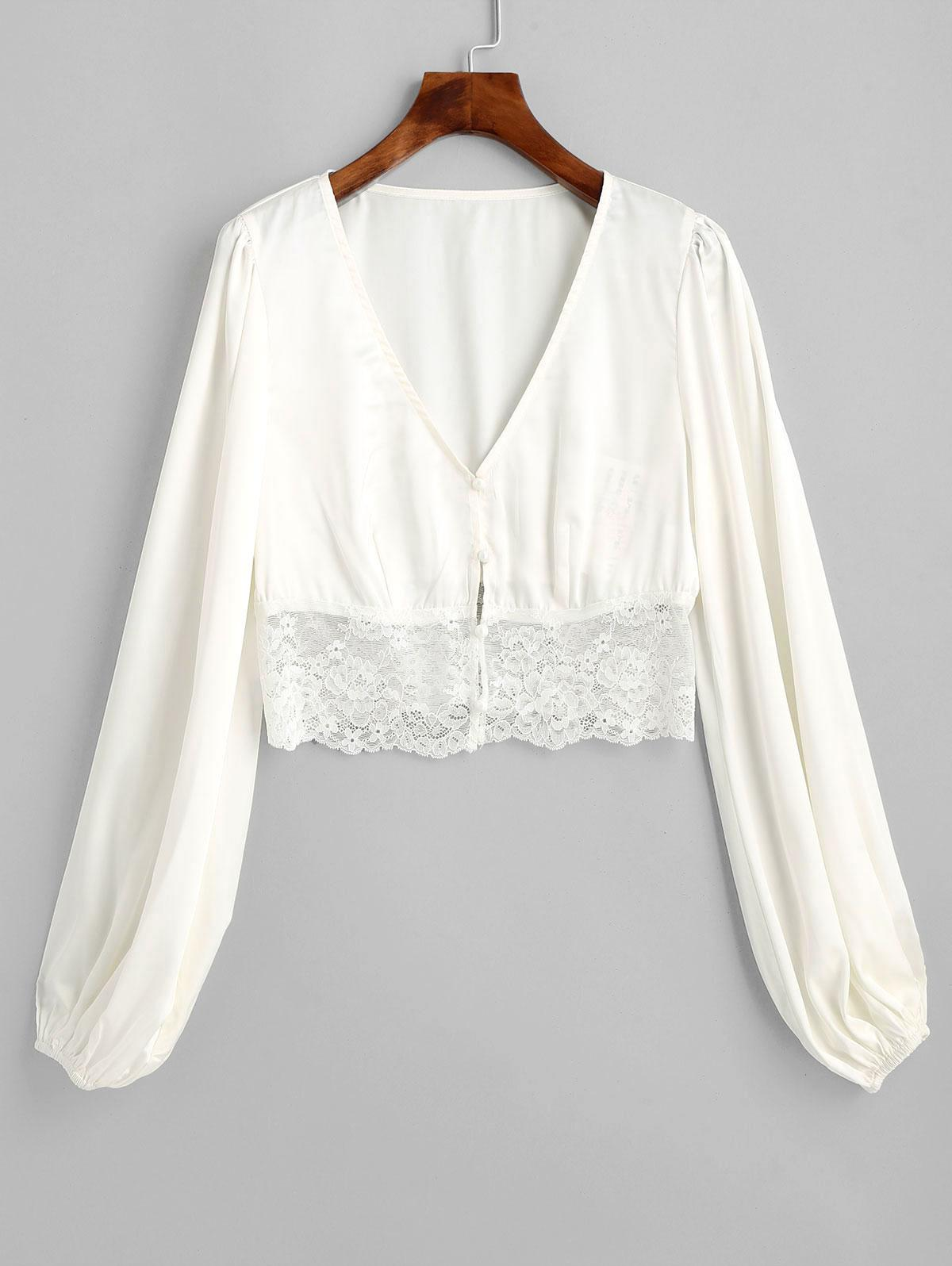 ZAFUL Lace Insert Plunging Crop Blouse
