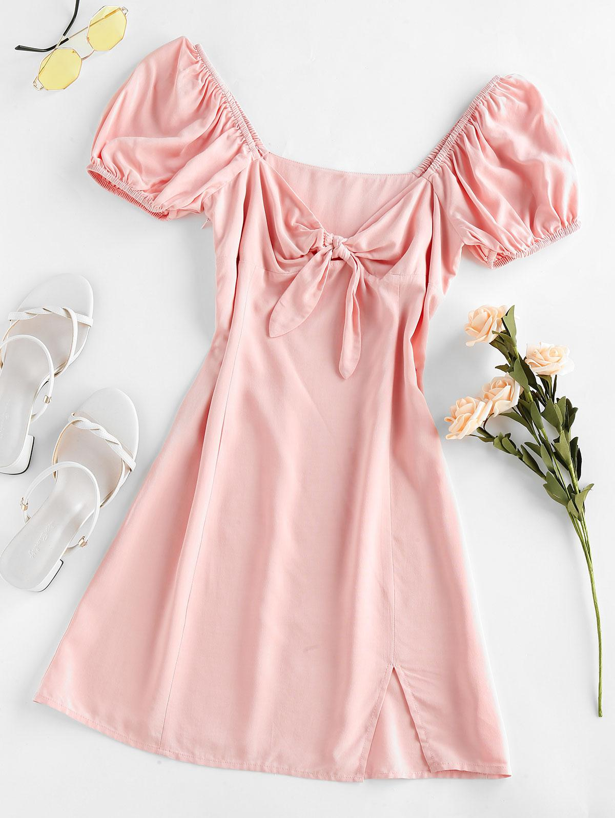 ZAFUL Knot Slit Milkmaid Dress