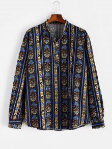 Henley Long Sleeve Ethnic Shirt
