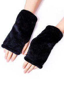 قفازات الشتاء الصلبة الفانيلا أصابع - أسود