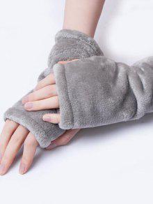 قفازات الشتاء الصلبة الفانيلا أصابع - رمادي