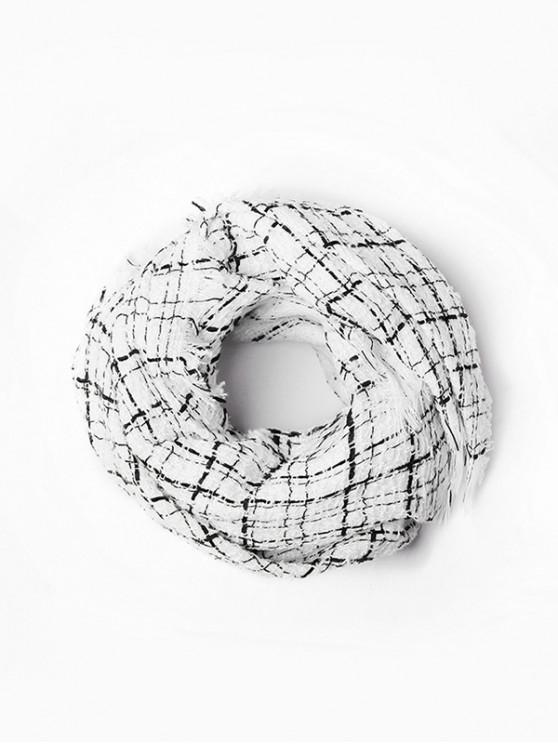 sale Plaid Fringe Faux Cashmere Scarf - WHITE