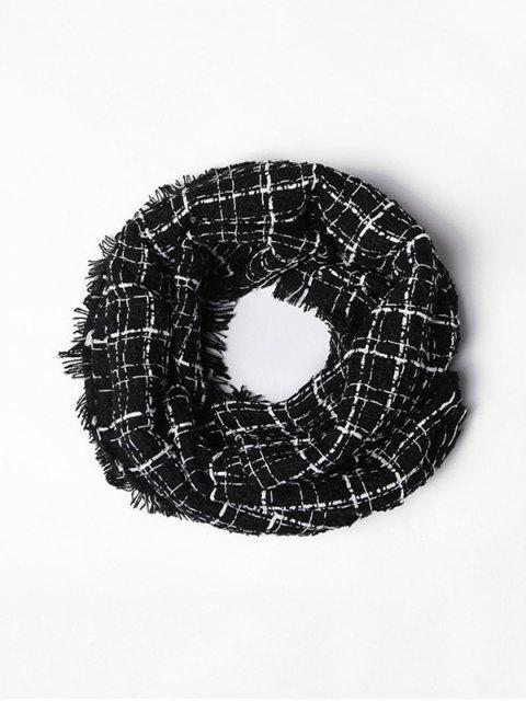 Клетчатый Шарф С бахромой Из искусственного кашемира - Чёрный  Mobile
