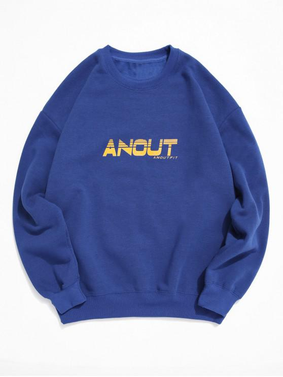 Scrisoare Grafica Print Fleece Picătură Umăr Sweatshirt - Albastru L