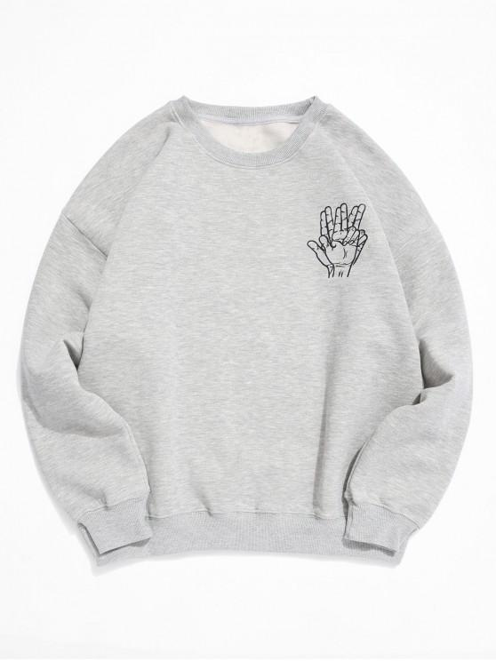 shops Figure Gesture Print Casual Plush Sweatshirt - LIGHT GRAY L