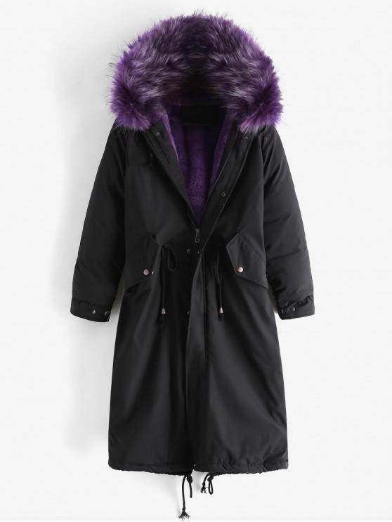 online Detachable Fur Collar Pocket Longline Parka Coat - PURPLE M