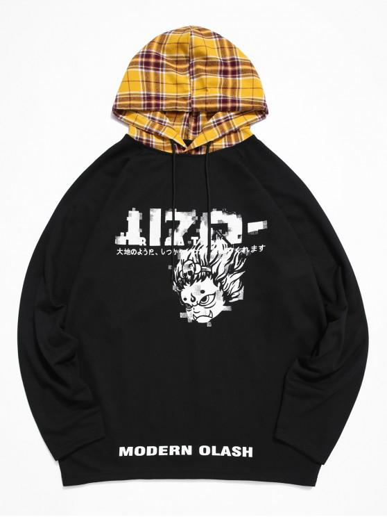 hot ZAFUL Cartoon Character Letter Print Plaid Spliced Hoodie - BLACK 2XL