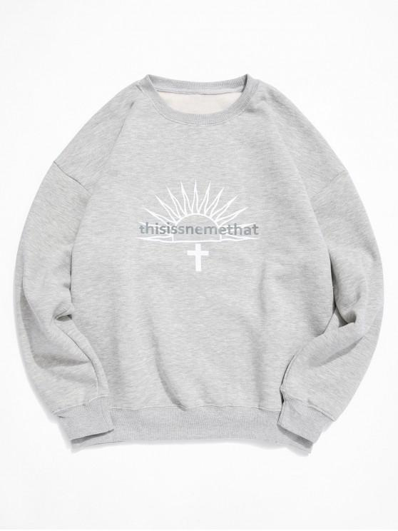 lady Letter Graphic Print Fleece Crew Neck Sweatshirt - GRAY S