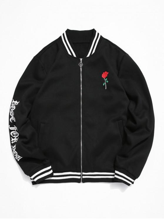 womens ZAFUL Rose Letter Pattern Zip Up Jacket - BLACK XL
