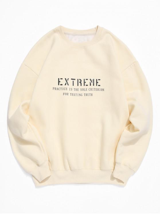 Extreme Scrisoare de imprimare Fleece Crew Neck Sweatshirt - Crema de cristal 2XL