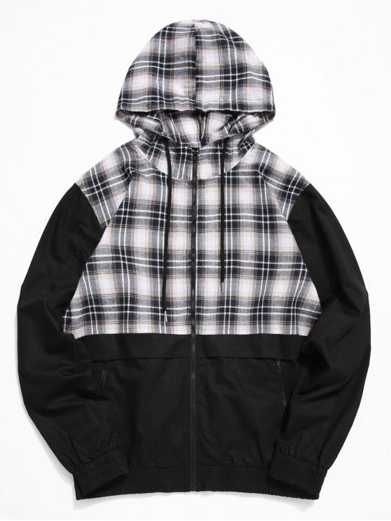 best ZAFUL Plaid Spliced Zip Up Casual Jacket - BLACK 2XL