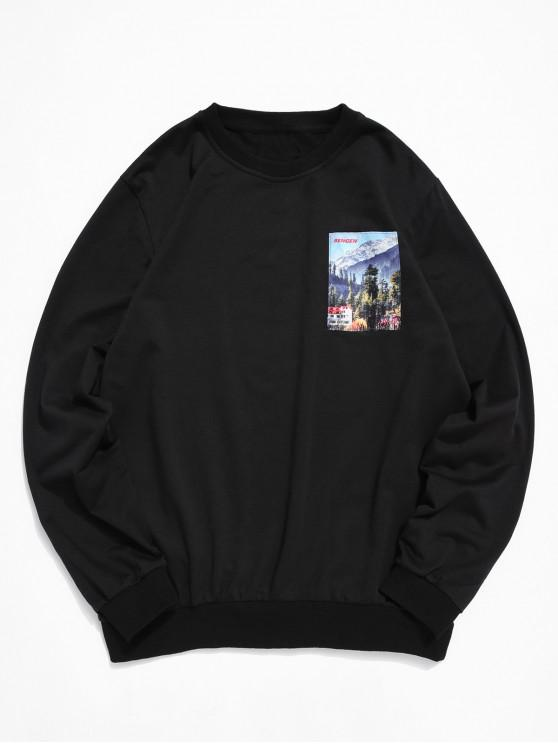 fashion ZAFUL Graphic Printed Casual Style Sweatshirt - BLACK 2XL