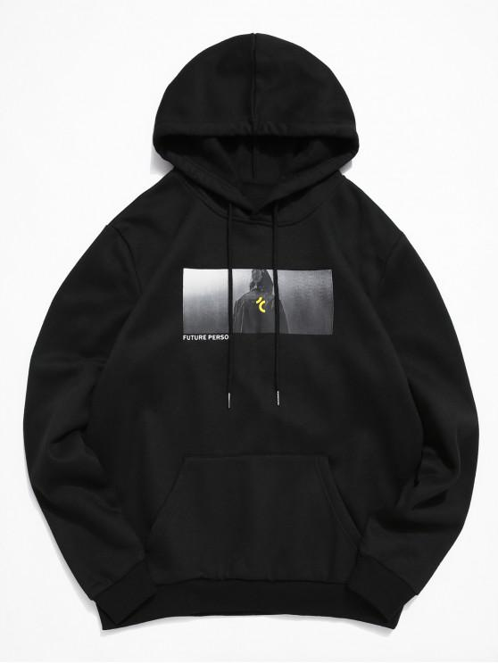 unique ZAFUL Character Graphic Printed Pocket Hoodie - BLACK M
