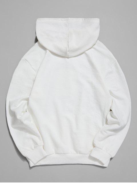 性格男人和貓信打印休閒帽衫 - 白色 2XL Mobile