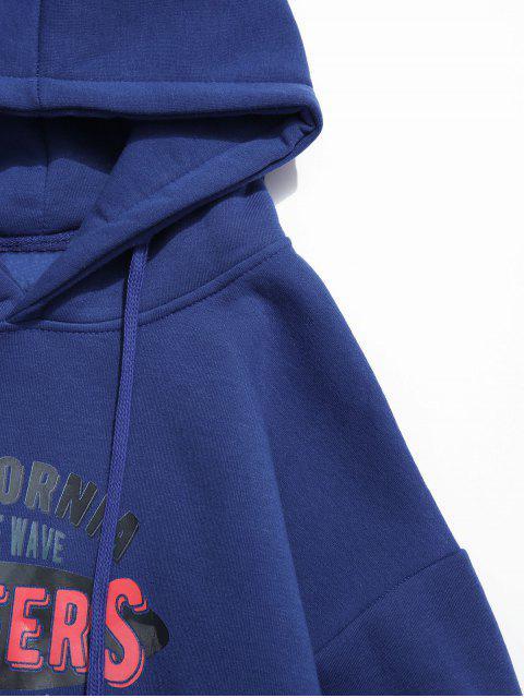 衝浪者信圖形打印液滴肩抓絨帽衫 - 藍色 S Mobile