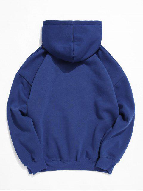 衝浪者信圖形打印液滴肩抓絨帽衫 - 藍色 3XL Mobile