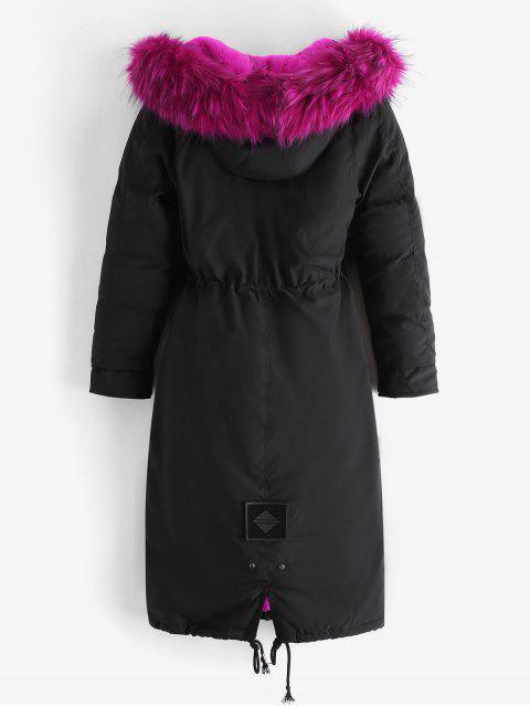Abnehmbarer Kunstwolle Tasche Longline Parka Mantel - Rosenrot 2XL Mobile