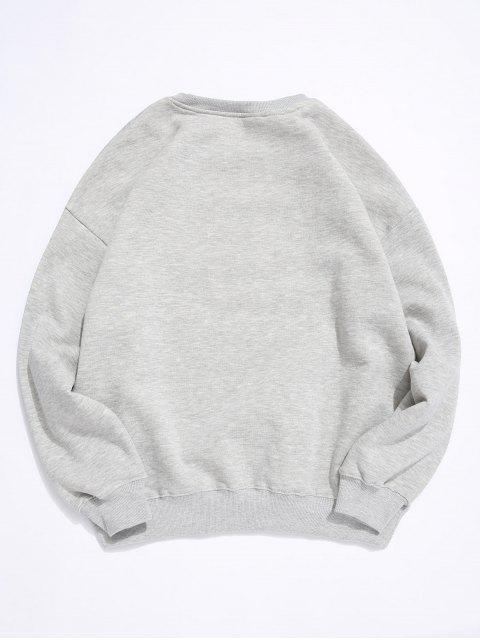 Brief Graphischer Druck Fleece-Sweatshirt mit Rundhalsausschnitt - Grau 2XL Mobile
