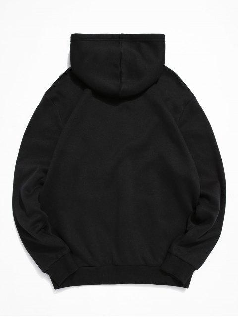 buy ZAFUL Astronaut Print Kangaroo Pocket Hoodie - BLACK XL Mobile