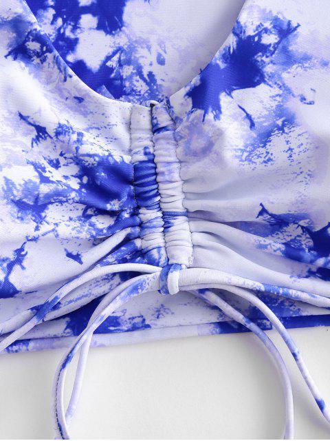 ZAFUL Bañador de Dos Piezas con Tie-dye de Escalera - Azul de Arándanos S Mobile