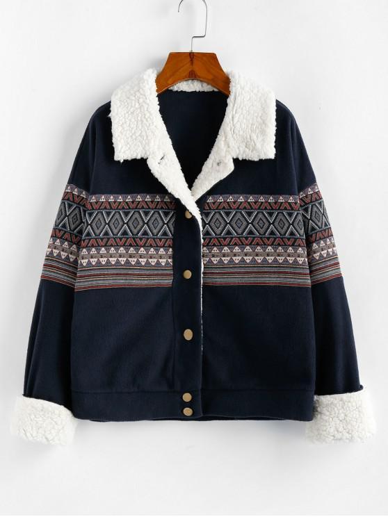 best ZAFUL Geo Drop Shoulder Faux Fur Insert Jacket - DARK SLATE BLUE M