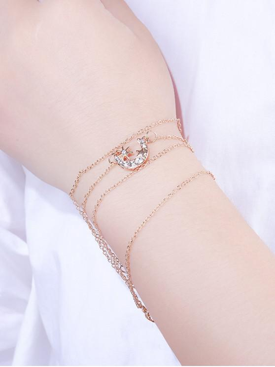 lady 5Pcs Stars Moon Rhinestone Bracelet Set - GOLD