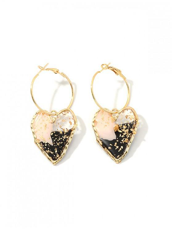 trendy Irregular Heart Epoxy Hoop Earrings - GOLD