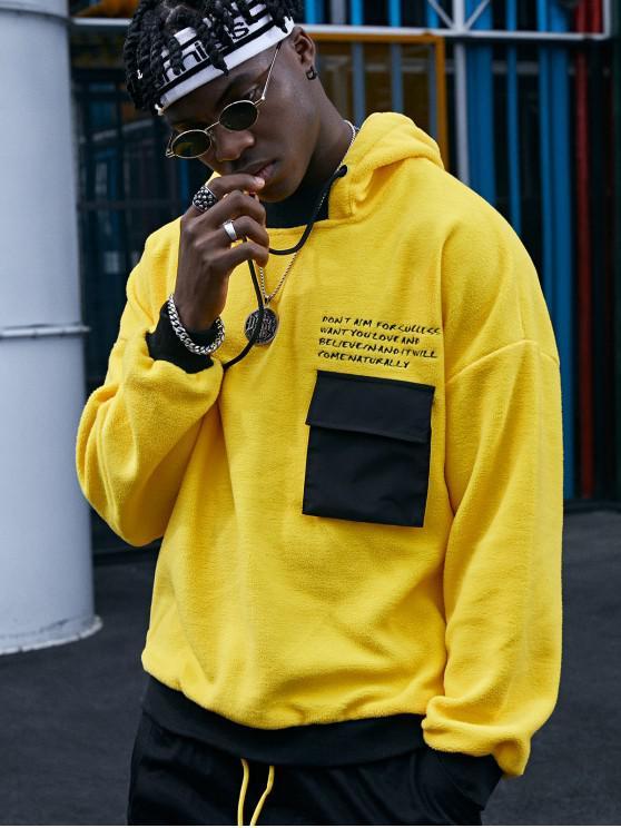 Carta Contraste de impresión Recorte mullido del lazo del bolsillo con capucha - Amarillo L