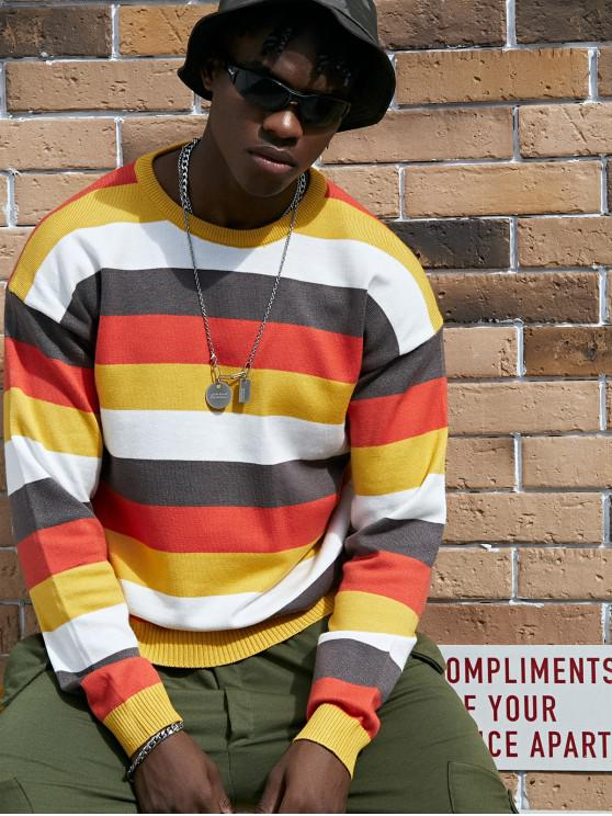shops Colorblock Stripe Crew Neck Pullover Sweater - YELLOW 3XL