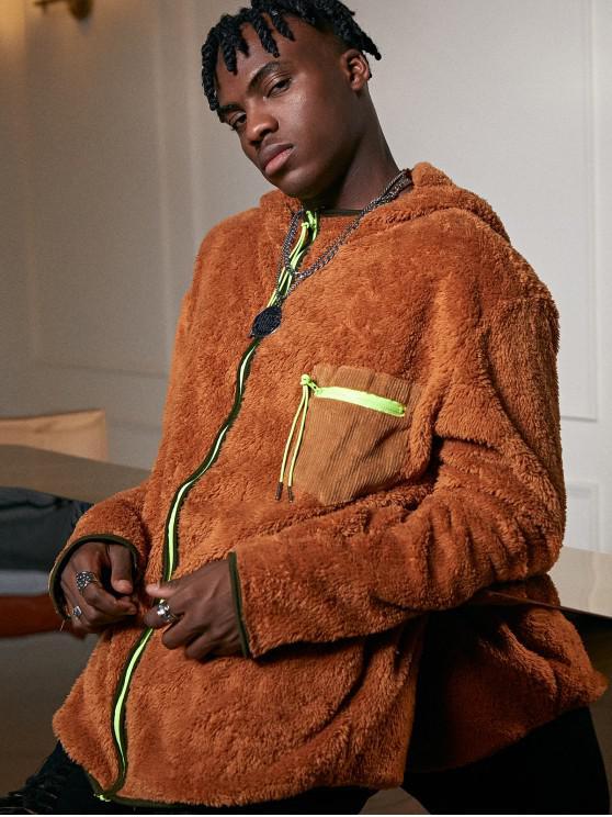 women's Zip Up Pocket Decoration Fluffy Jacket - CARAMEL 2XL