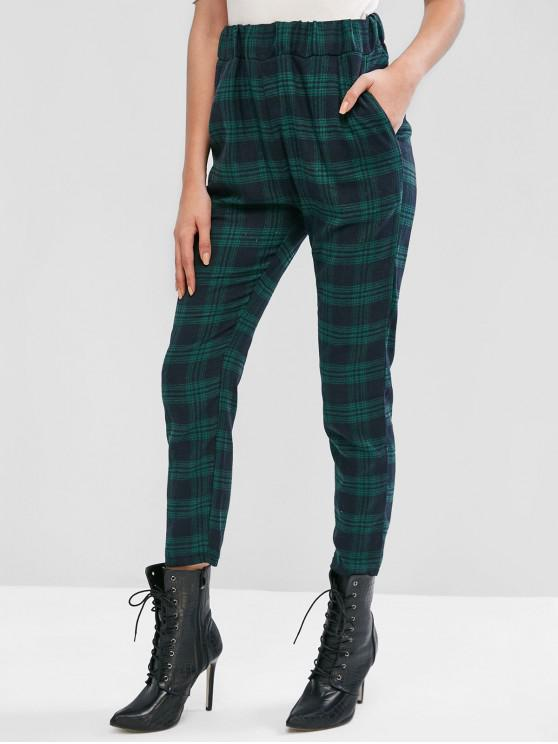 affordable High Waisted Plaid Straight Pants - MULTI-D L