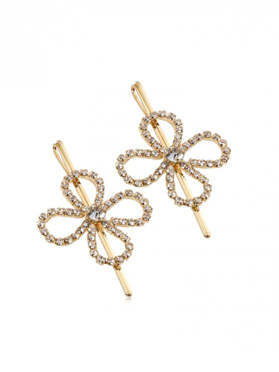 affordable 1 PC Rhinestone Flower Hair Grip - GOLD