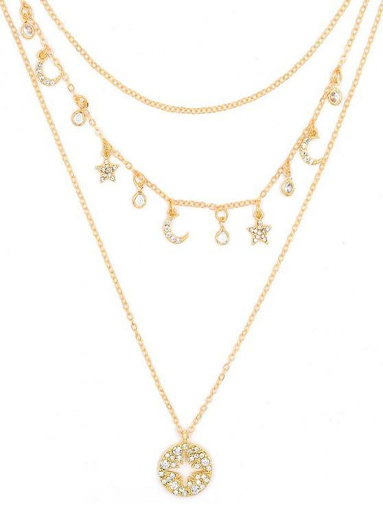 unique Moon Star Rhinestone Layered Necklace - GOLD