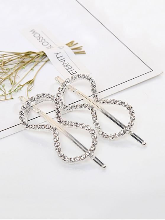 womens 1 PC Rhinestone Bowknot Hair Grip - SILVER