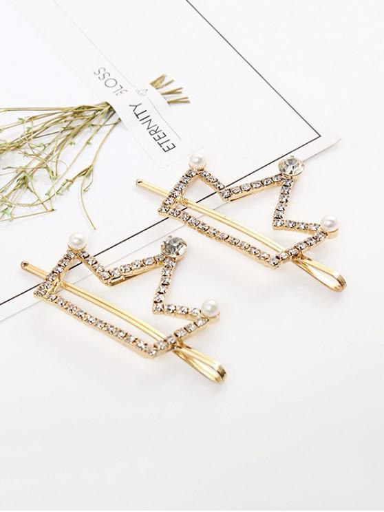 trendy 1 PC Faux Pearl Rhinestone Crown Hair Grip - GOLD
