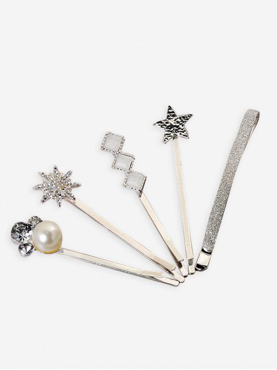 affordable 5Pcs Star Faux Pearl Hairpins Set - SILVER