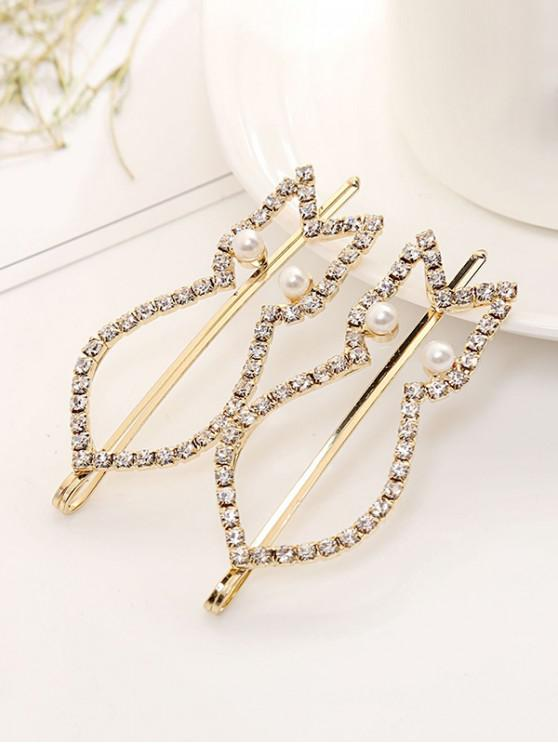 chic 1 PC Rhinestone Faux Pearl Cat Hair Grip - GOLD