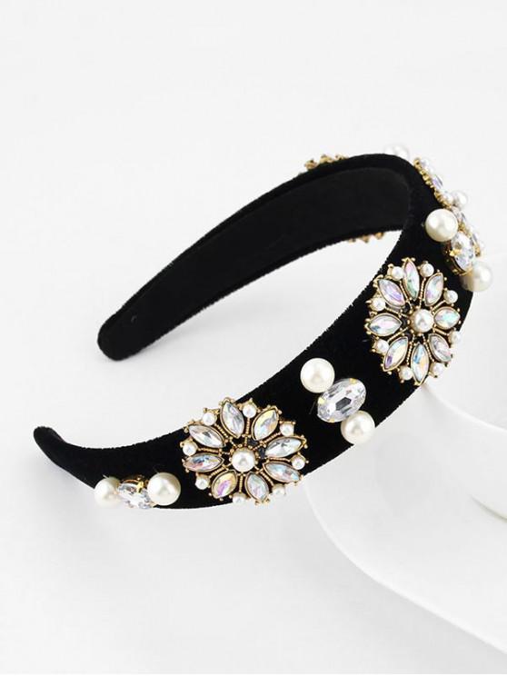 Bandeau de Cheveux Fleuri en Fausse Perle avec Strass - Noir