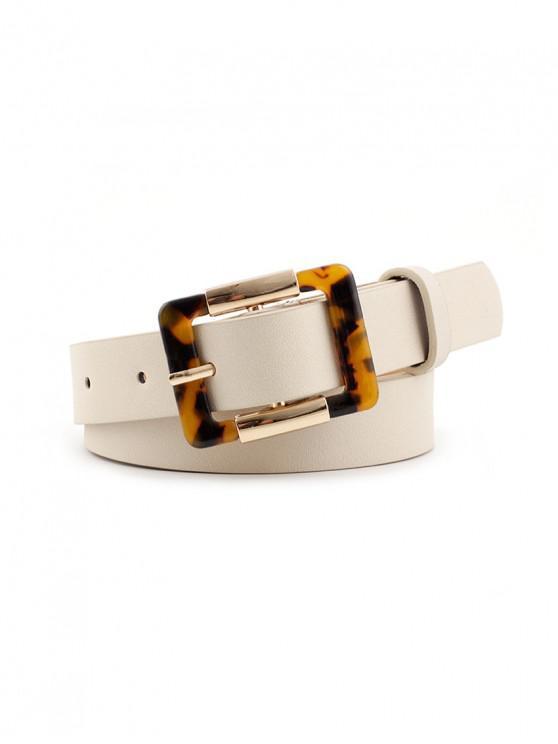 Cinturón de Hebilla Cuadrada Estampado Leopardo - Blanco