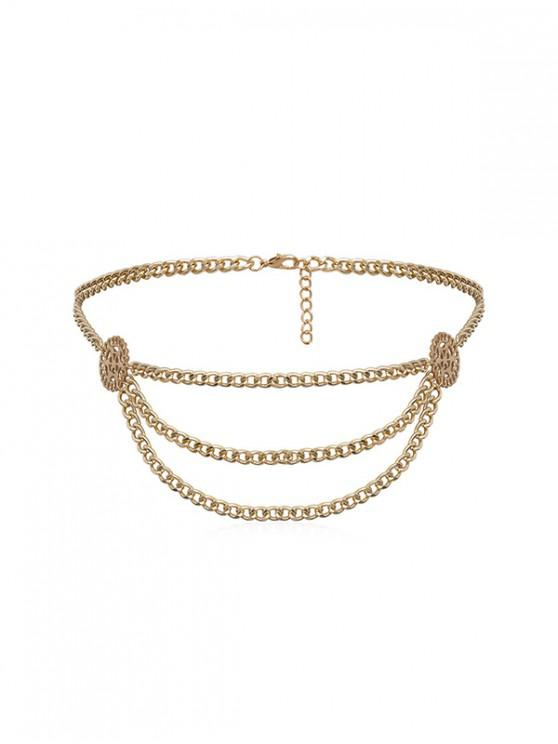 chic Hollow Round Layered Waist Chain - GOLD
