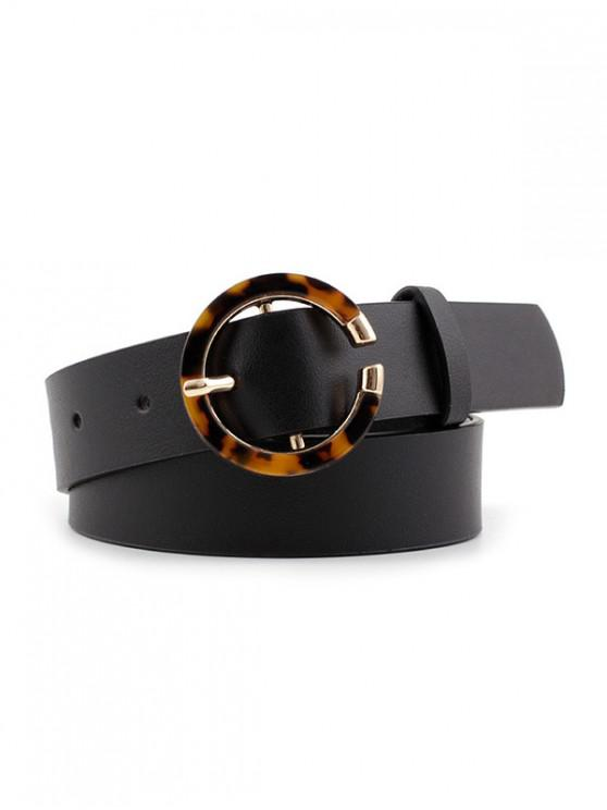 lady Thin Round Buckle Decorative Belt - BLACK