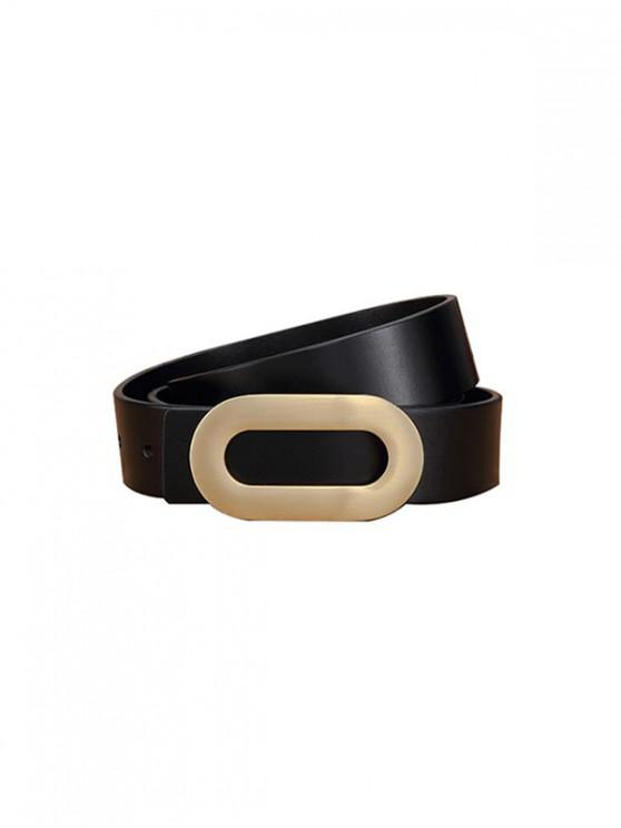 online Oval Buckle Brief Shirt Belt - BLACK