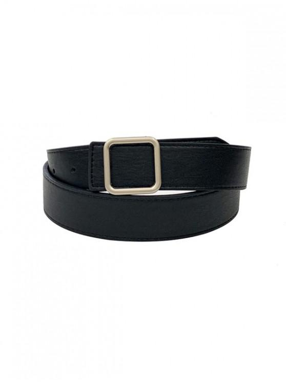 outfits Simple Square Buckle Leather Belt - BLACK